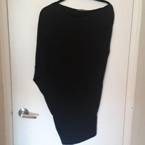 EUC- slinky black off the shoulder mini dress